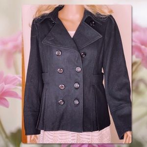 GUESS WOOL DOUBLE BREASTED BLACK PEACOAT JACKET L